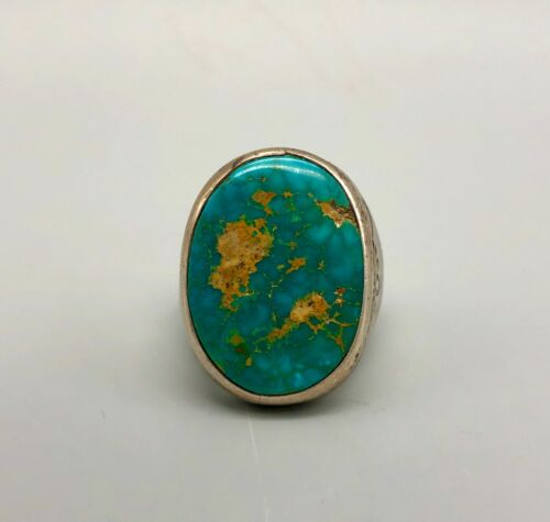 Magnificent Older Mens Turquoise and Sterling Silver Ring- Size 12.5