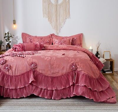Tache 6 Piece Fancy Faux Satin Pink Royal Dreams Ruffled Comforter Bedding Set ()