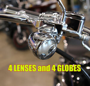Chrome Turn Signal lens Kit for Harley Davidson Softail Fatboy Deuce Night Train
