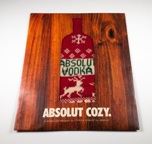NEW MINT Absolut Vodka Sweater Cozy Christmas 2001 by Cynthia Rowley