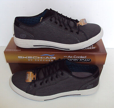 Skechers Mens Memory Foam Trainers Shoes Black Meteno Casual Lace Up Size 5.5-12