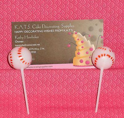 Baseball Cupcake Picks, White, Sports, Plastic,DecoPac,Decoration,12 ct.
