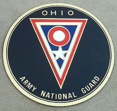 Ohio Army National Guard Self Adhesive Metal Emblem With Enamel Finish 3 1/8""