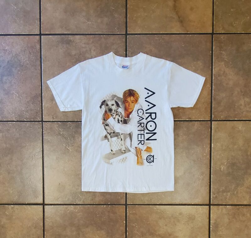 Vintage 2003 Aaron Carter Dalmatian White Concert T-Shirt Youth Size Large