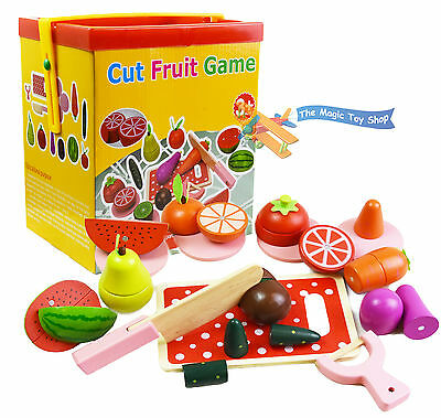 Wooden Magnetic Cut Fruit & Veg Blocks Pretend Kitchen Play Food Cutting Toy