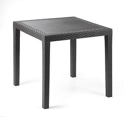 Gartentisch King weiss wetterfest Tisch 80 x 80 cm Balkontisch Polyrattan Optik