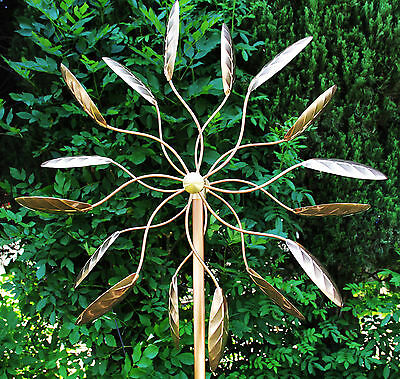 (Stanwood Wind Sculpture Kinetic Copper Dual Spinner - Spinning Ficus Leaves)