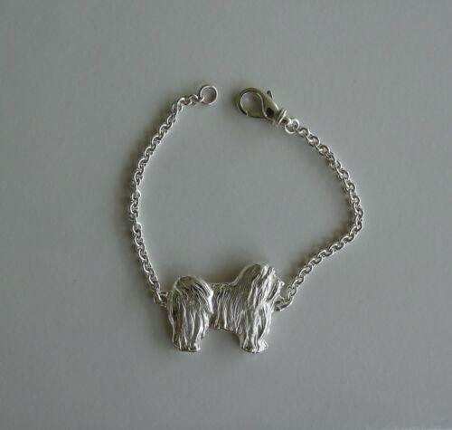 Large Sterling Silver Havanese Standing Study Bracelet