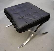 Ex Display Replica Barcelona Ottoman Black Italian Leather Stool Melbourne CBD Melbourne City Preview
