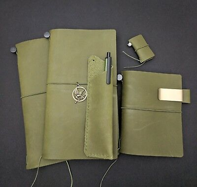 Olive Edition Asian Vintage Travelers Notebook Genuine Leather Refillable Diary