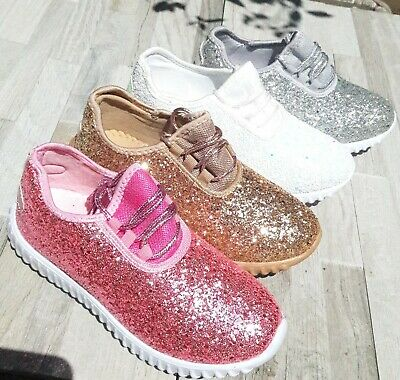 Sparkle Girl Shoes (Girls Big Kids Tennis Shoes Glitter Sparkly Joggers Size 10-3 Sneakers)