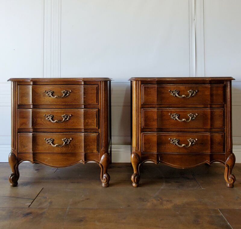 Custom Finish Option! Vintage French Provincial Nightstands Pair Glam End Tables