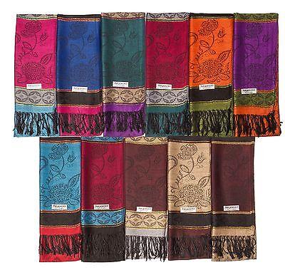 Lot of 12 NEW Soft Silk Pashmina Wholesale Cashmere Shawl scarf Stole Wrap Women
