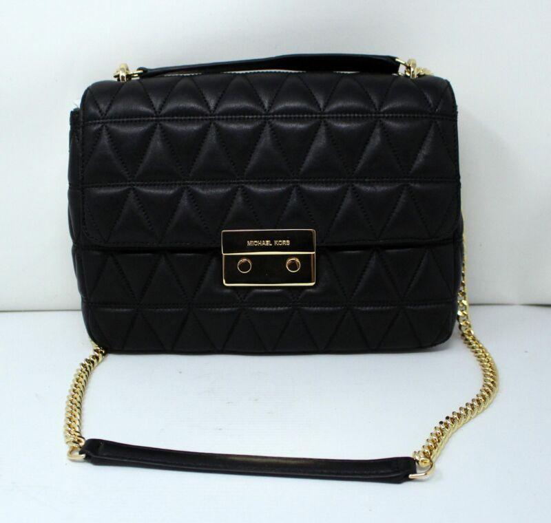 Michael Kors Sloan XL Chain Leather Shoulder Bag Black
