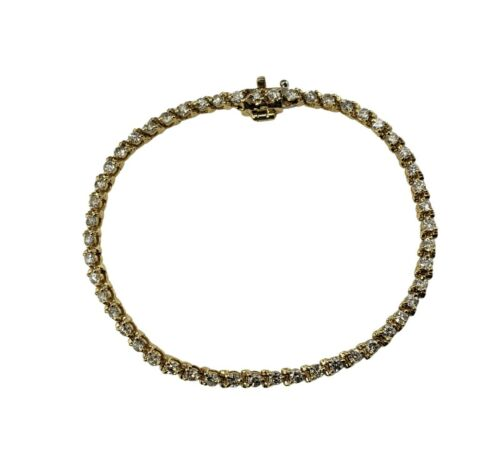 Vintage 14 Karat Yellow Gold Diamond Tennis Bracelet 2.04 TCW. #9852