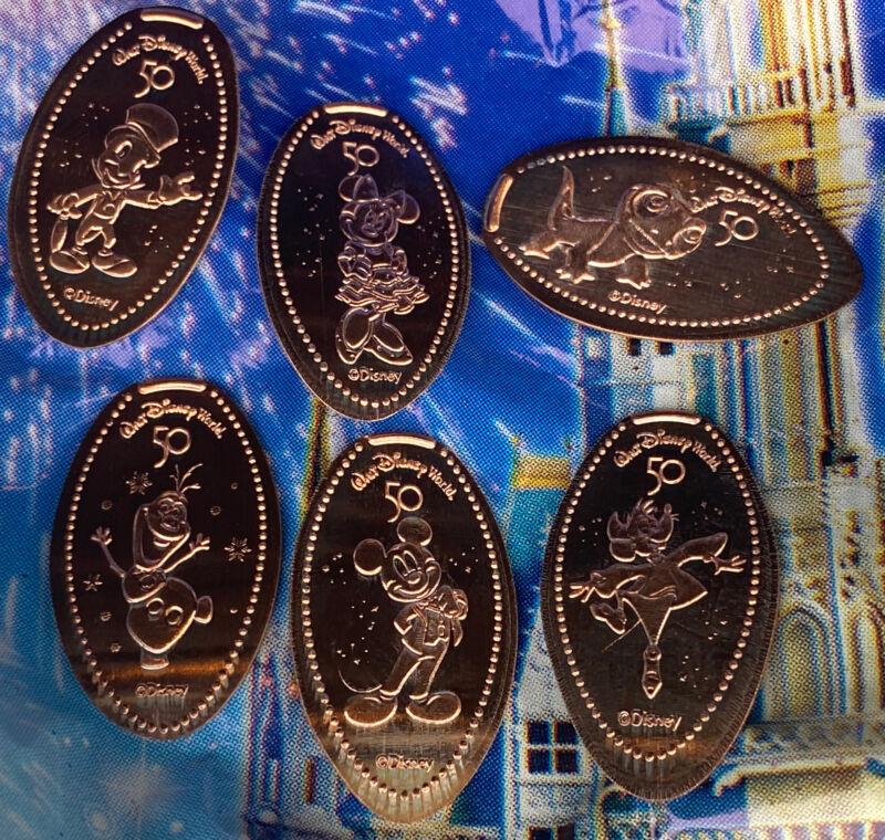 Walt Disney World 50th Anniversary Magic Kingdom Pressed Penny Set Of 7 Coins