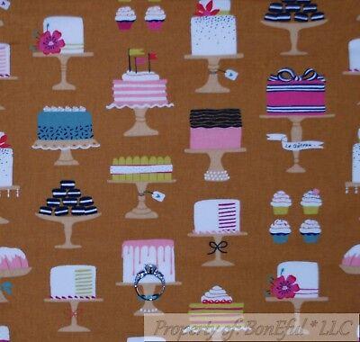 BonEful Fabric FQ Cotton Quilt VTG Brown Pink Chocolate Cup*Cake Birthday Flower Chocolate Brown Pink Wedding