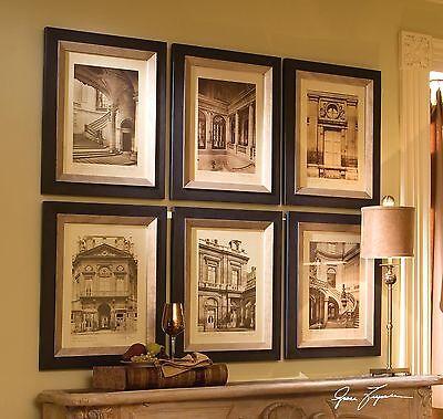 Art Deco Paris Architecture Wall Print Set | Sepia Antique Style Art