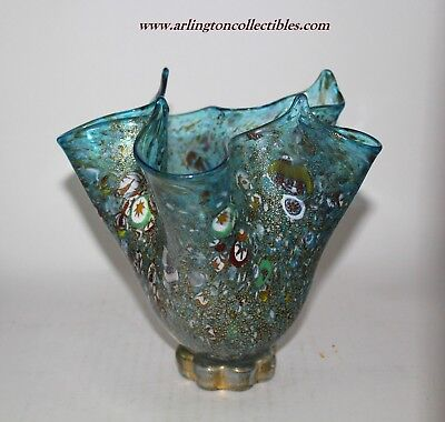 MURANO Signed ☆ Fazzoletto Handkerchief Millifiori Art Glass VASE Original Label