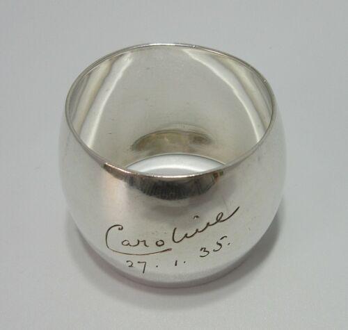 "Antique Heavy Solid Silver Napkin Ring ""Caroline"" Hallmark Martin Hall"