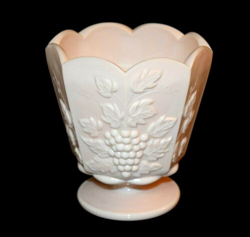 Vintage Mid-Century NAPCO Shell Pink Milk Glass Grapes & Leaves Footed Vase