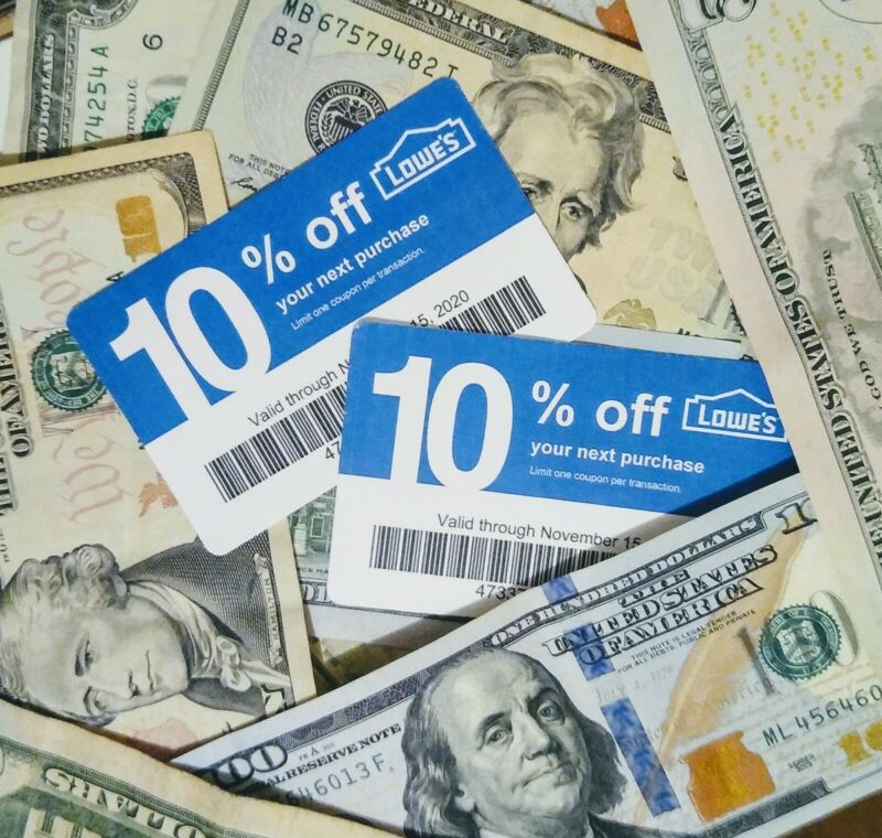 $AVE 2-10% off LOWES Competitor Cards for HOME DEPOT, etc. Exp 11/20 Read Below: