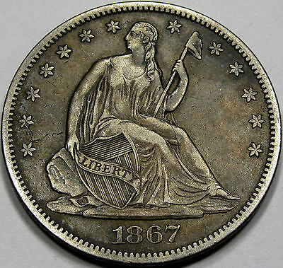 1867 S SEATED LIBERTY HALF DOLLAR CHOICE AU SO NICE AND ORIGINAL! SUPERB