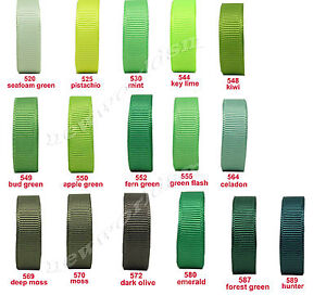 10y-25y-50y-22mm-7-8-Green-Shades-Premium-Grosgrain-Ribbon-All-Occasions-Eco