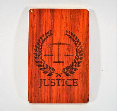 Business Card Holder Wooden Handmade Lazercut Scales Of Justice On Padauk Birch