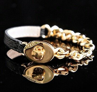 GUESS UBS11406-S Armreif Armband Leder  in Farbe:Gold/Schwarz NEU!