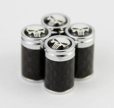 4pcs Carbon Fiber Auto Car Wheel Tire Air Valve Caps Stem Cover fit for Punisher