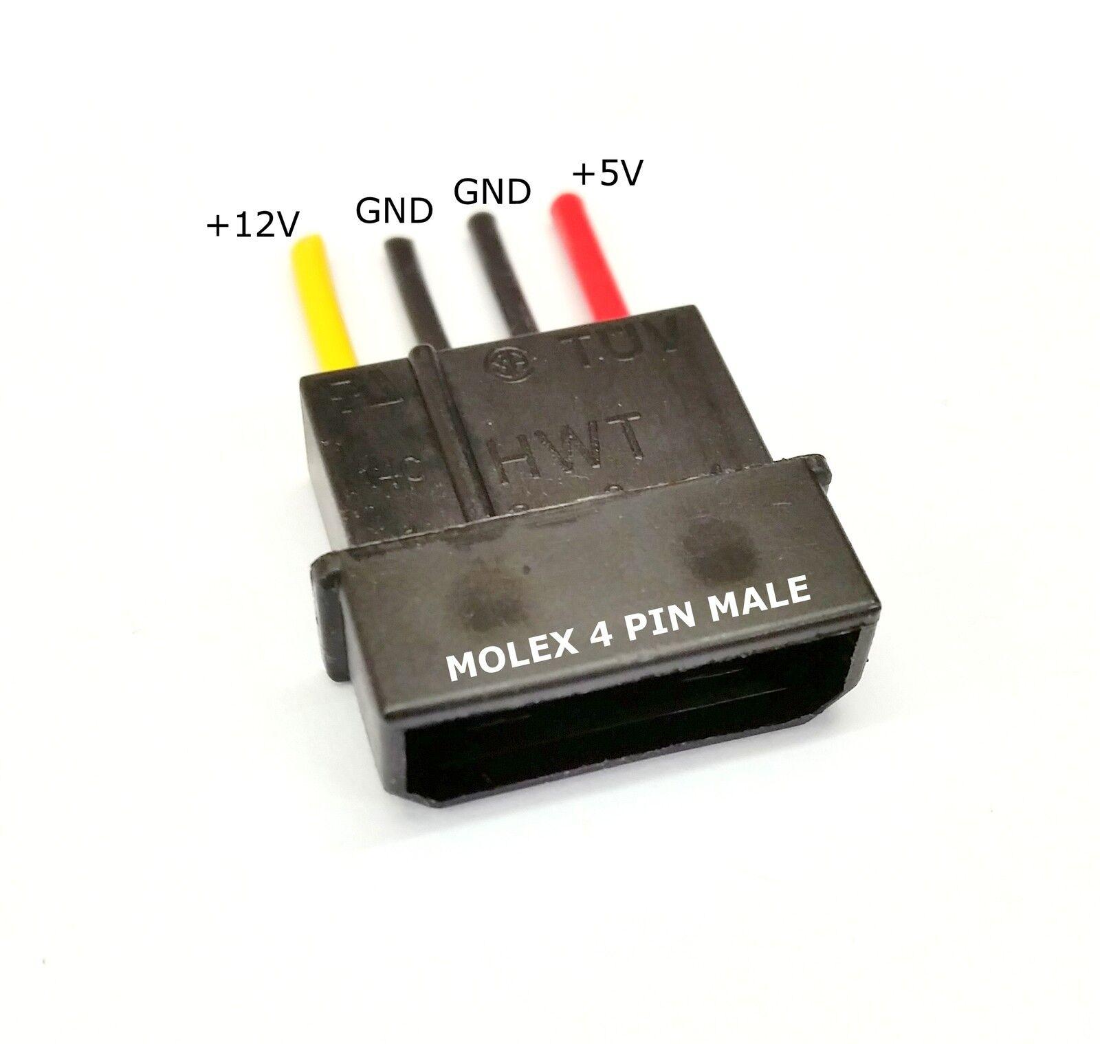 5 STÜCK - Stecker 4-polig Molex PC PSU Stromversorgung Verbinder ...
