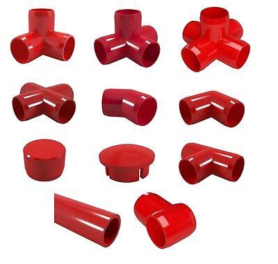 (Red PVC Pipe and Fittings. 3 Way Elbow, Corner, Tee, Cross, Cap)