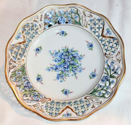 "Vintage Bavaria Schumann German 11"" Dinner Plate Pierced Chalet Forget Me Not"