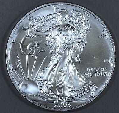 2003 1 oz AMERICAN SILVER EAGLE BRILLIANT UNCIRCULATED ASE  SKU2003B
