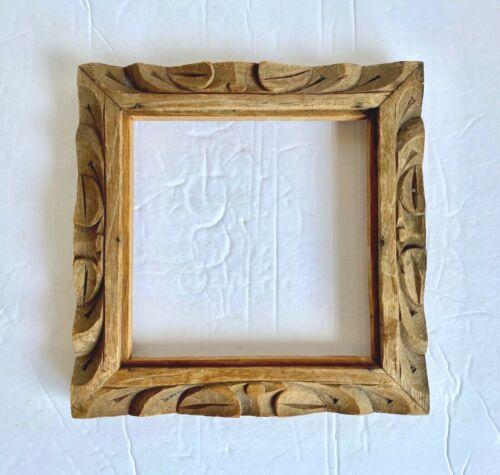 Vintage Carved Wood Tile Frame Footed Base Mexican Ceramic Tiles Picture Art