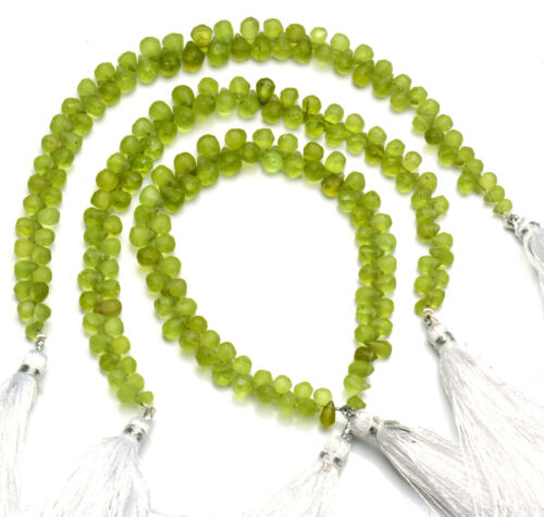 """Natural Gem Olive Green Rough Peridot 6x4 to 7x5mm Unpolished Drop Beads 7"""""""