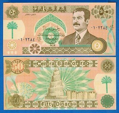 Iraq P-75 50 Dinar Year 1991 Saddam Hussein Mosque Uncirculated Banknote