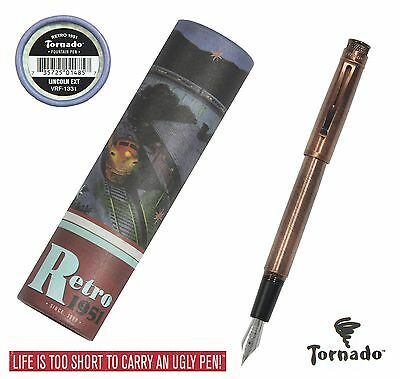 Retro 51 Lincoln EXT Copper Tornado Fountain Pen #VRF-1331-F / Fine Point NIB