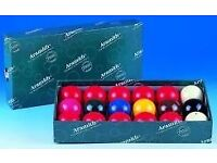 """Aramith 1 7/8"""" snooker balls - 10 reds. Suitable 6'/7' tables. Hardly used and stored in box."""