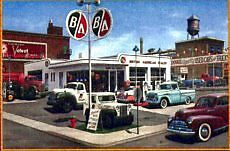 Framed auto and old service stations, shell, BA,White Rose polic