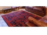 Large Oriental rug in red and black