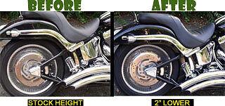 NO SHOCK REMOVAL Harley SOFTAIL Lowering Kit! ALL Models 2000-2017. Easiest Kit!