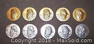 Ten (10) King Neptune Poseidon Vintage Medallions - A