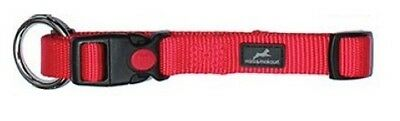 Nylon Dog / Puppy Collar | Plain RED | Safety Button | Best Quality | FREE