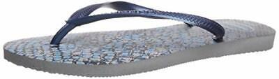 Havaianas Women's Slim Animal Flip Flop, Grey/Navy Blue 37/38 BR (7-8 M US)