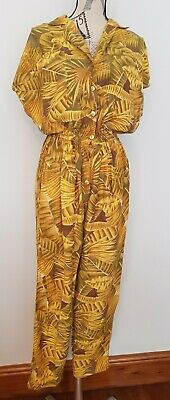Last Scene Yellow Brown Thistle Floral Jumpsuit Size S 10 12 The Vintage Corner