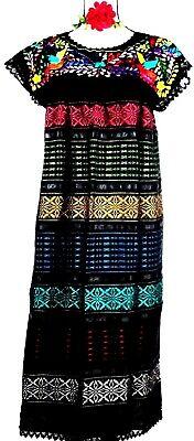 5 de Mayo Mexico Black Dress Wedding Hand loom Embroidery Puebla Birds Frida 2X