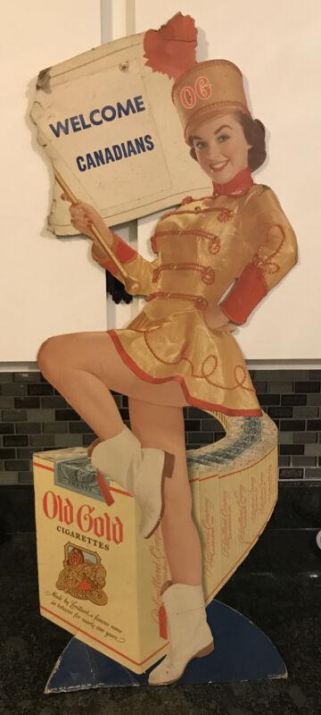 "Rare Vintage Cardboard Old Gold Cigarettes Countertop Display Sign Majorette 32"""