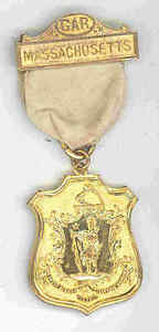 CIVIL WAR VETERAN GAR MEMBERSHIP MEDAL MASSACHUSETTS